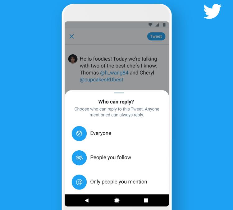 Twitter позволил пользователям определять, кто может отвечать на их твиты